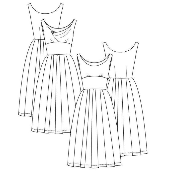 458e74b73e44 Snitmønster til feminin 50  er inspireret kjole